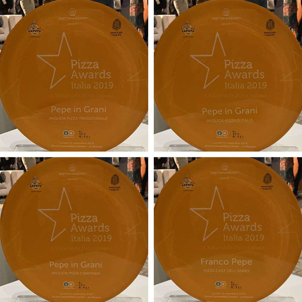ROMA: POKER DI PREMI PER FRANCO PEPE E LA SUA PEPE IN GRANI AL PIZZA AWARDS
